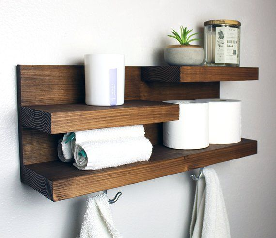 Photo of Bathroom Shelf Organizer with Towel Hooks, Farmhouse Country Rustic  Storage, Modern Farmhouse, Apartment Decor, Guest Storage