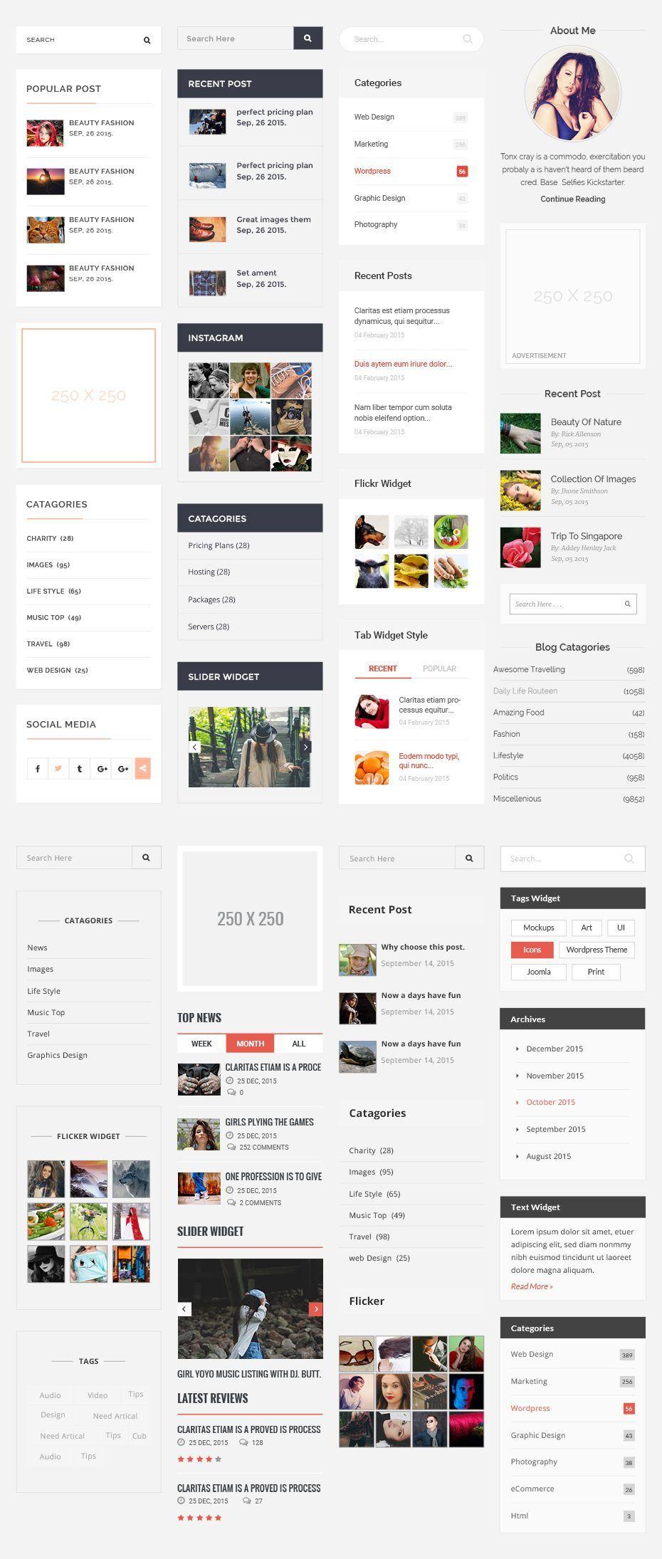 Blog Sidebar Freebiesteam Free Template Webresources Psd Uikit