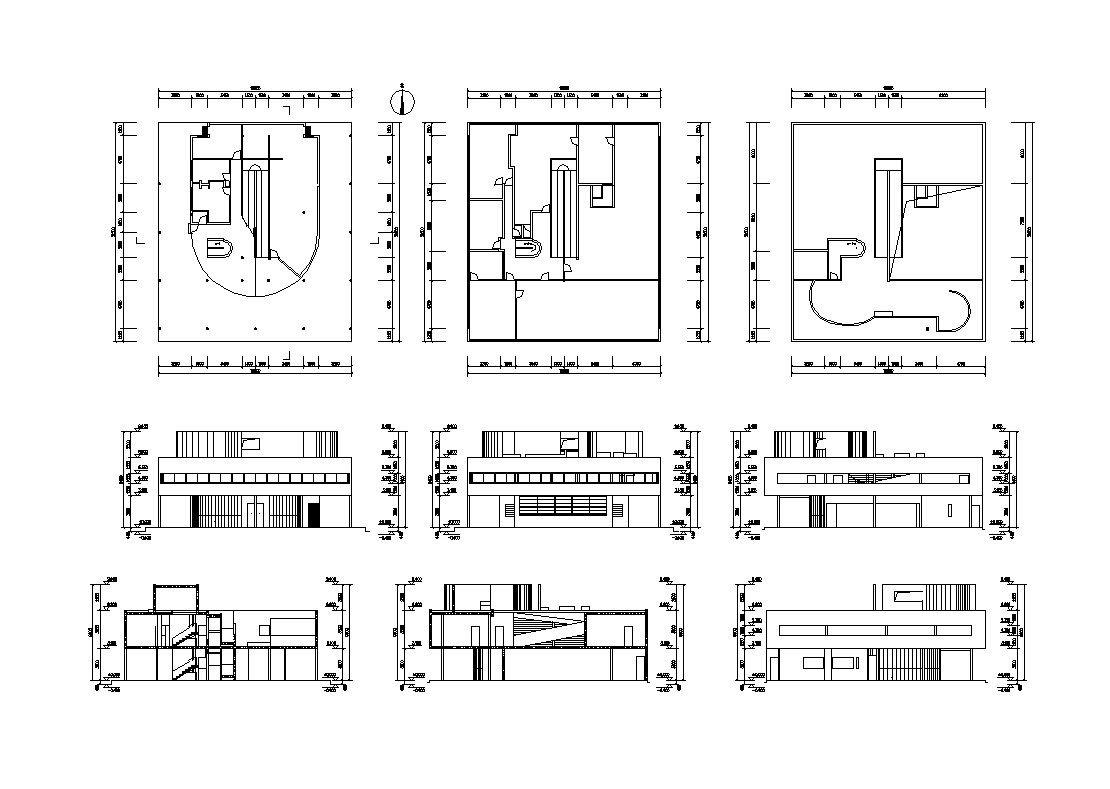 Villa savoye cad drawings le corbusier cliver for Villa plan dwg