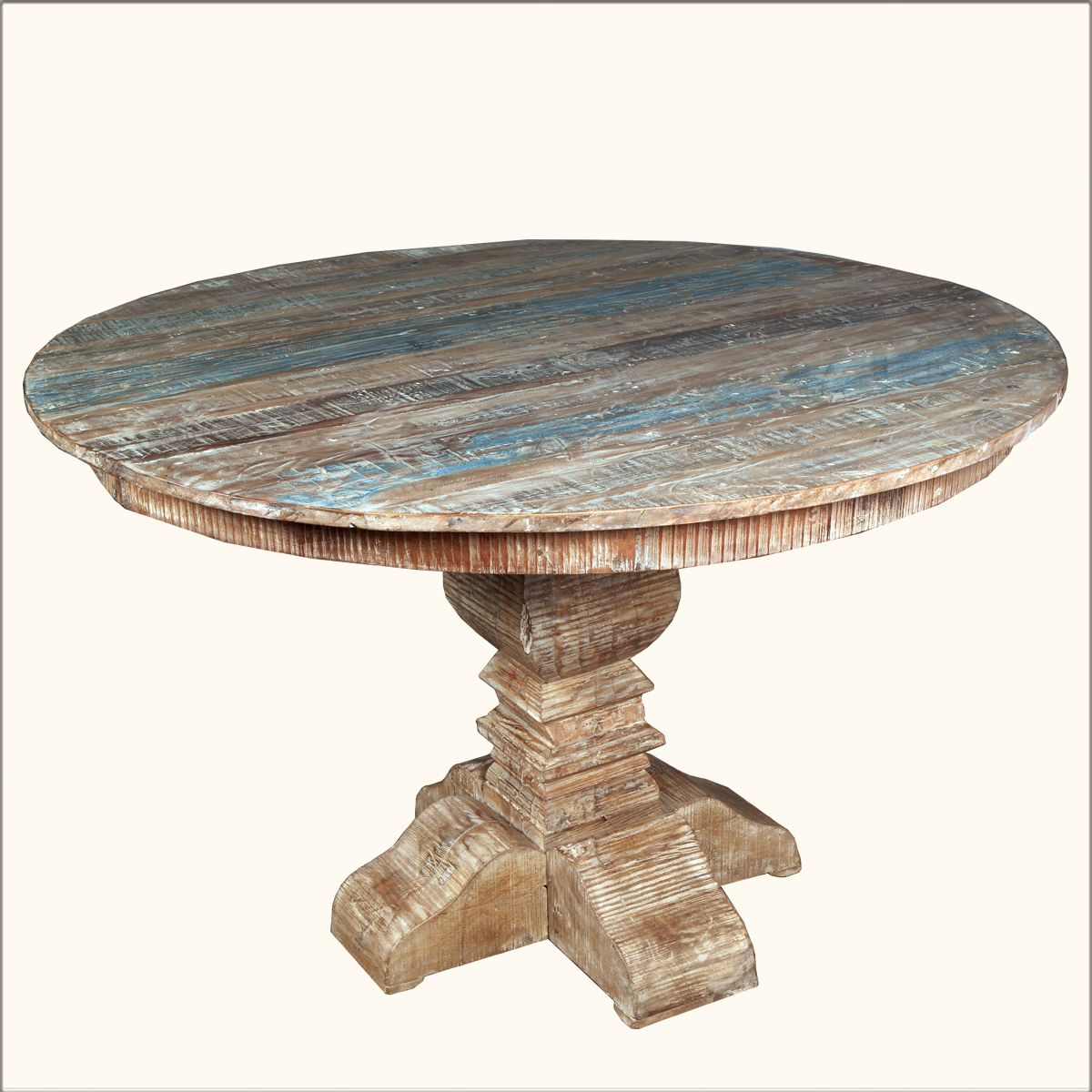 Image For Round Distressed Wood Dining Table