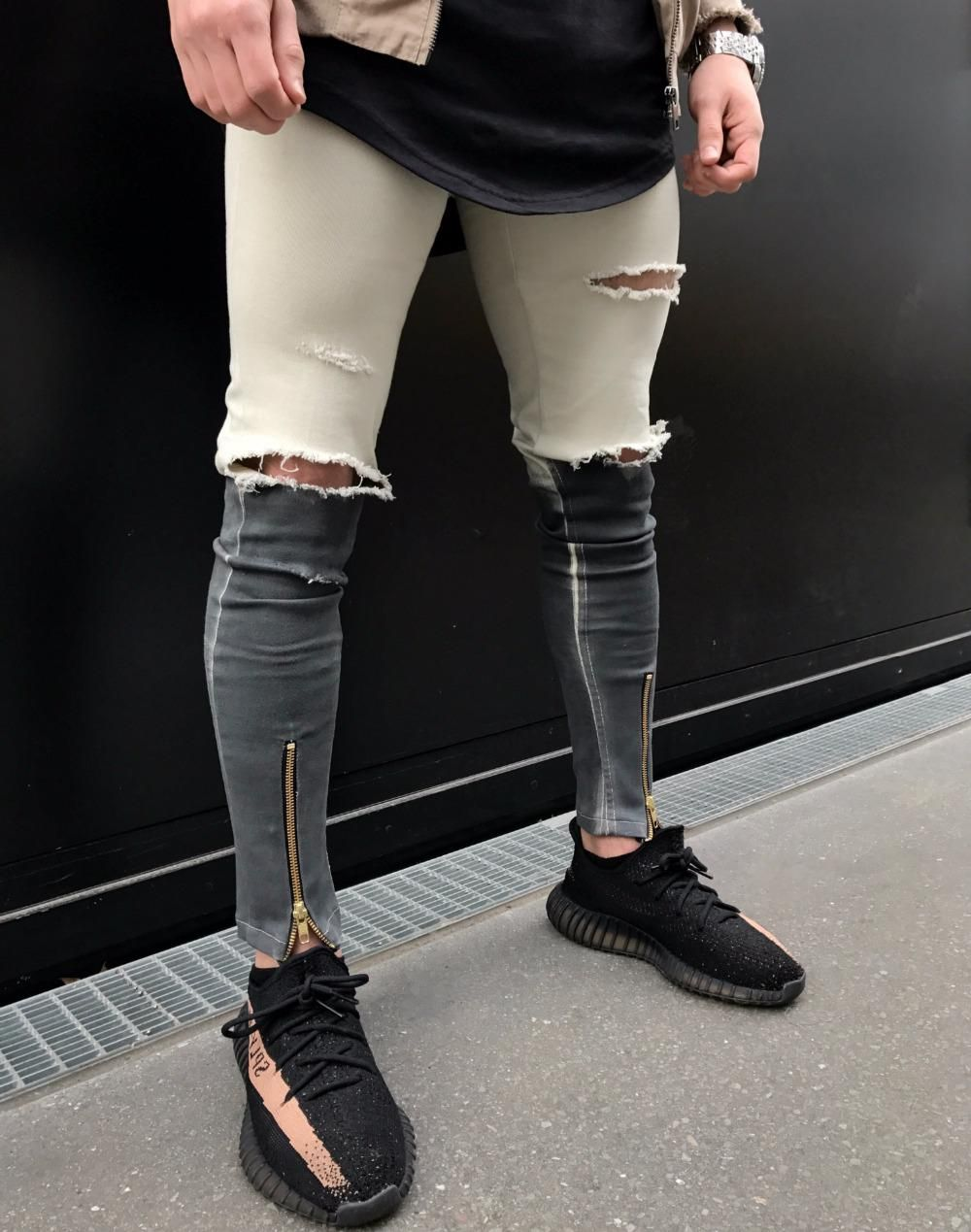12adb56fce9 2018 New Men Ripped holes jeans Zip skinny biker jeans black white jeans  with Beggar pants Splice hip hop jeans men pants. Yesterday s price  US   32.90 ...