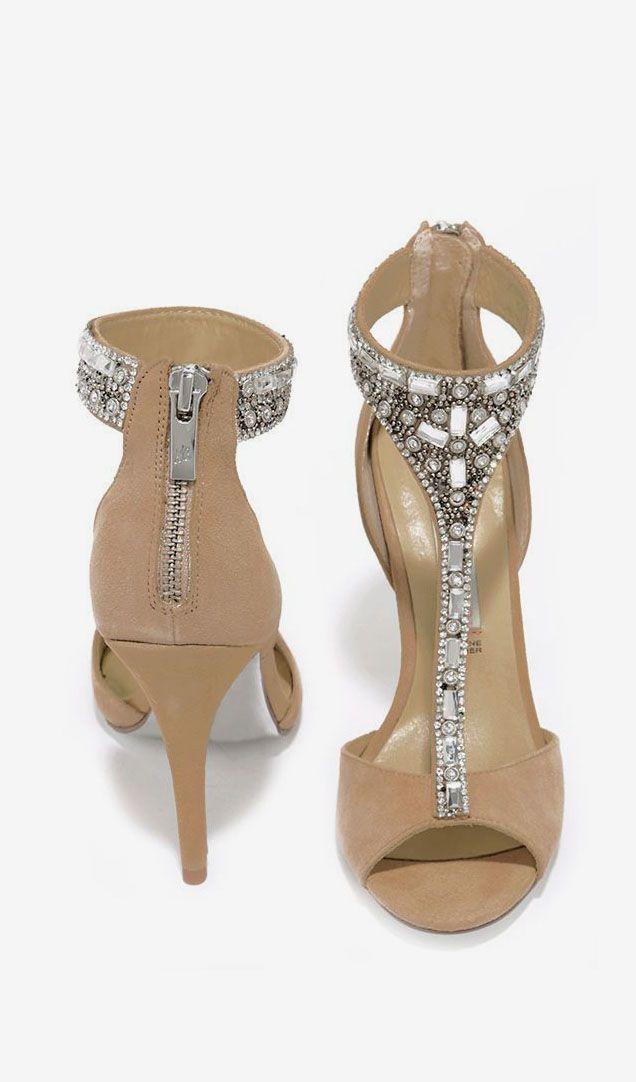 0ce450c7687f3 Bridesmaid Shoe- Chinese Laundry Lena Nude Kid Suede Rhinestone Dress  Sandals