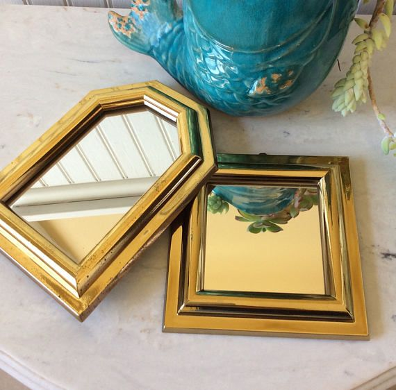 Vintage Set of Two Gold Burwood Mirrors Small Mirrors | Vintage ...