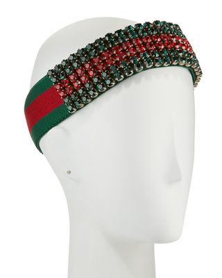0b8436a69ef Gucci Crystal Embellished Web Headband Headbands