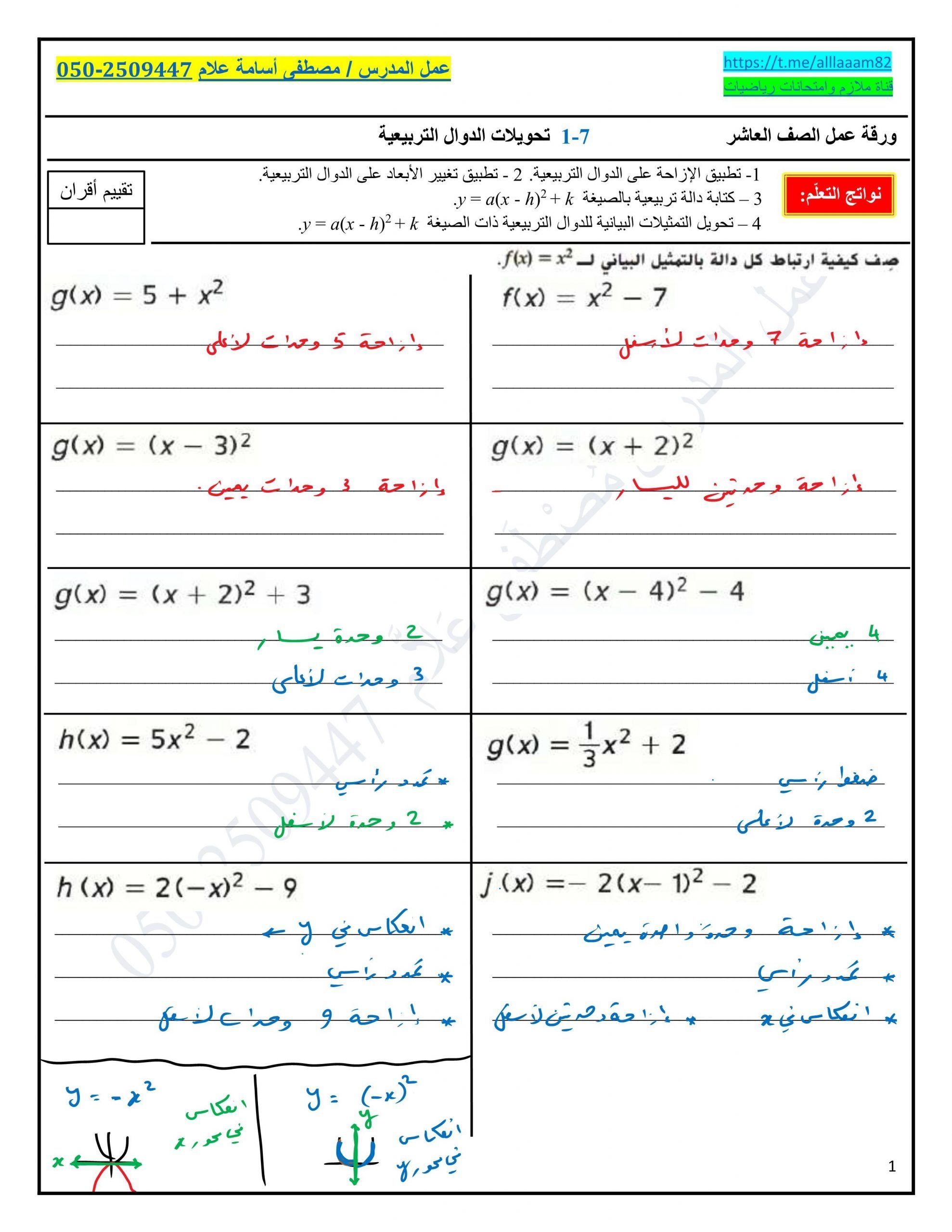 ورقة عمل تحويلات الدوال التربيعية مع الاجابات للصف العاشر مادة الرياضيات المتكاملة Map F X