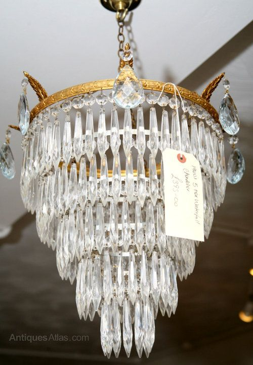 This is a good mid sized waterfall chandelier dating from 1930s 5 tier 1930s waterfall chandelier mozeypictures Gallery