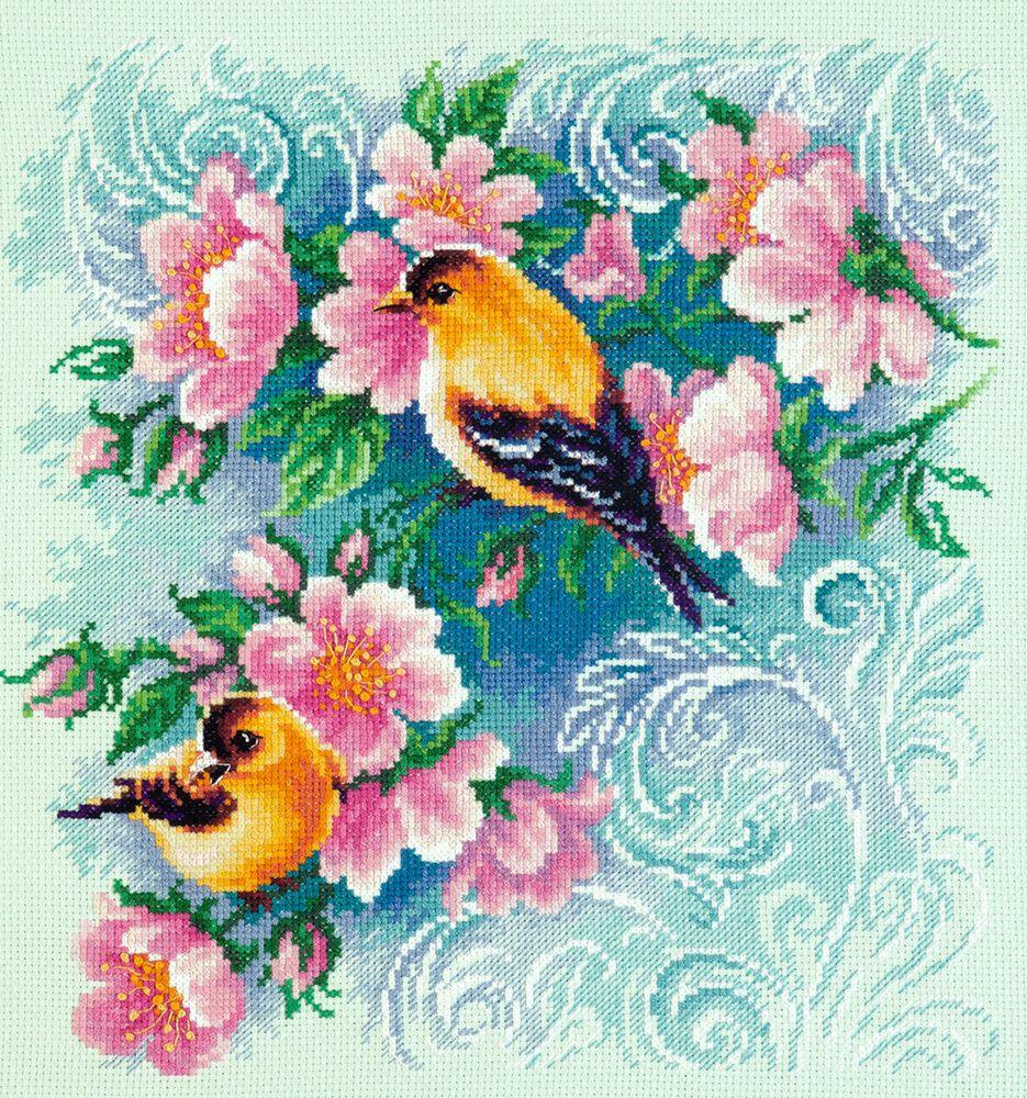 Spring Birdsong A Spring Blue tit cross stitch chart