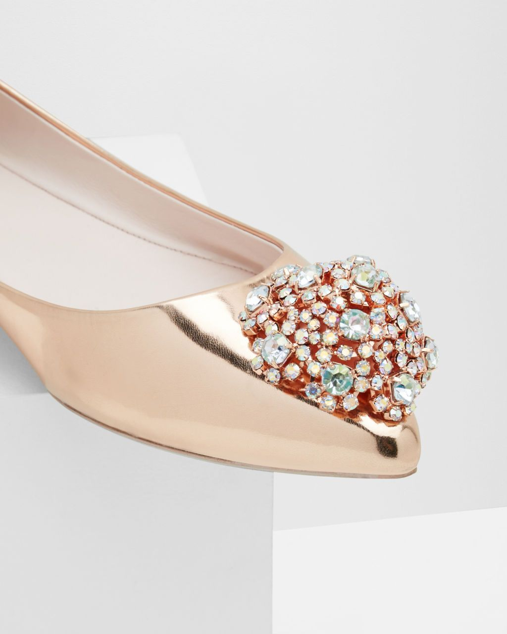 Embellished pointed toe flats - Rose Gold | Footwear | Ted Baker ROW