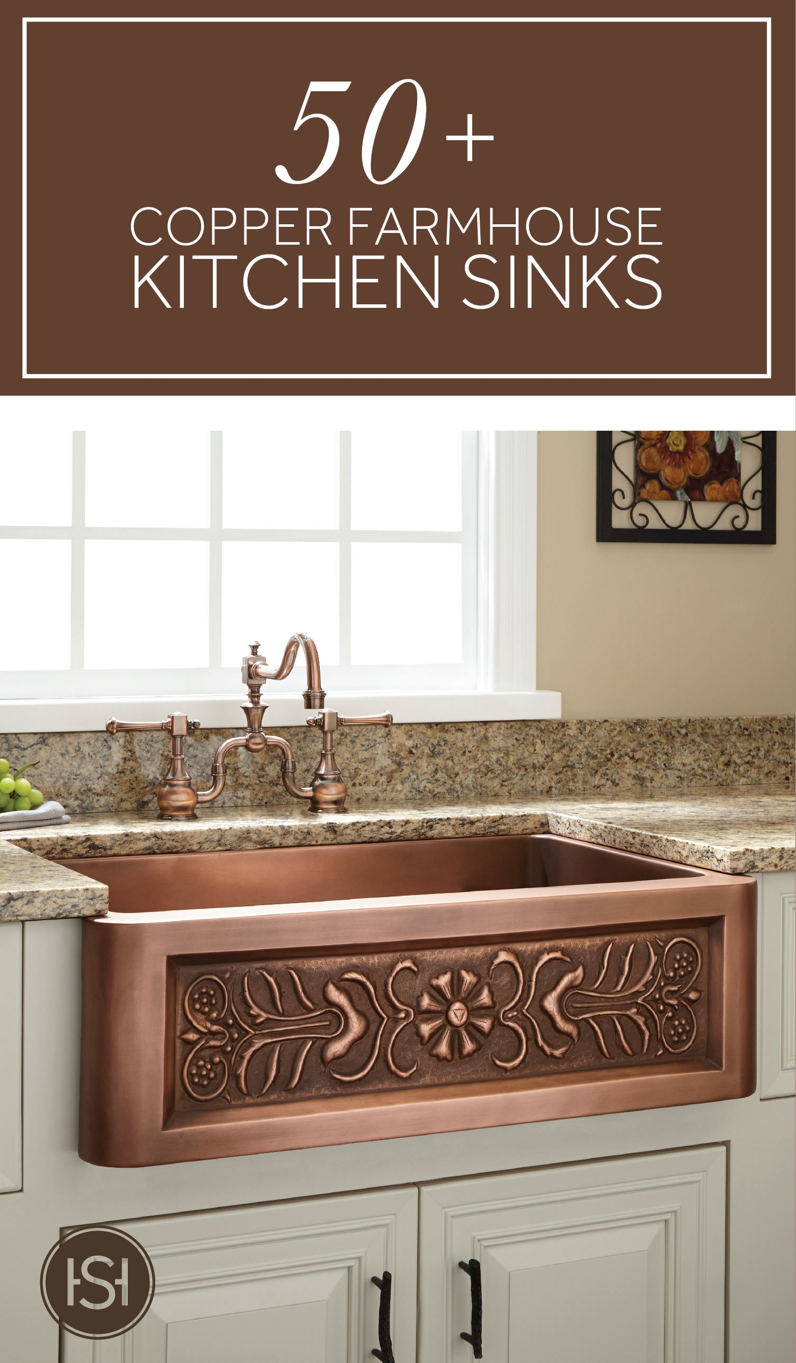 Bright and beautiful copper farmhouse sinks are the perfect