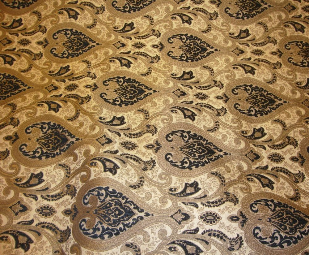 Chenille Monte Cristo Black Damask Upholstery Fabric With Gold