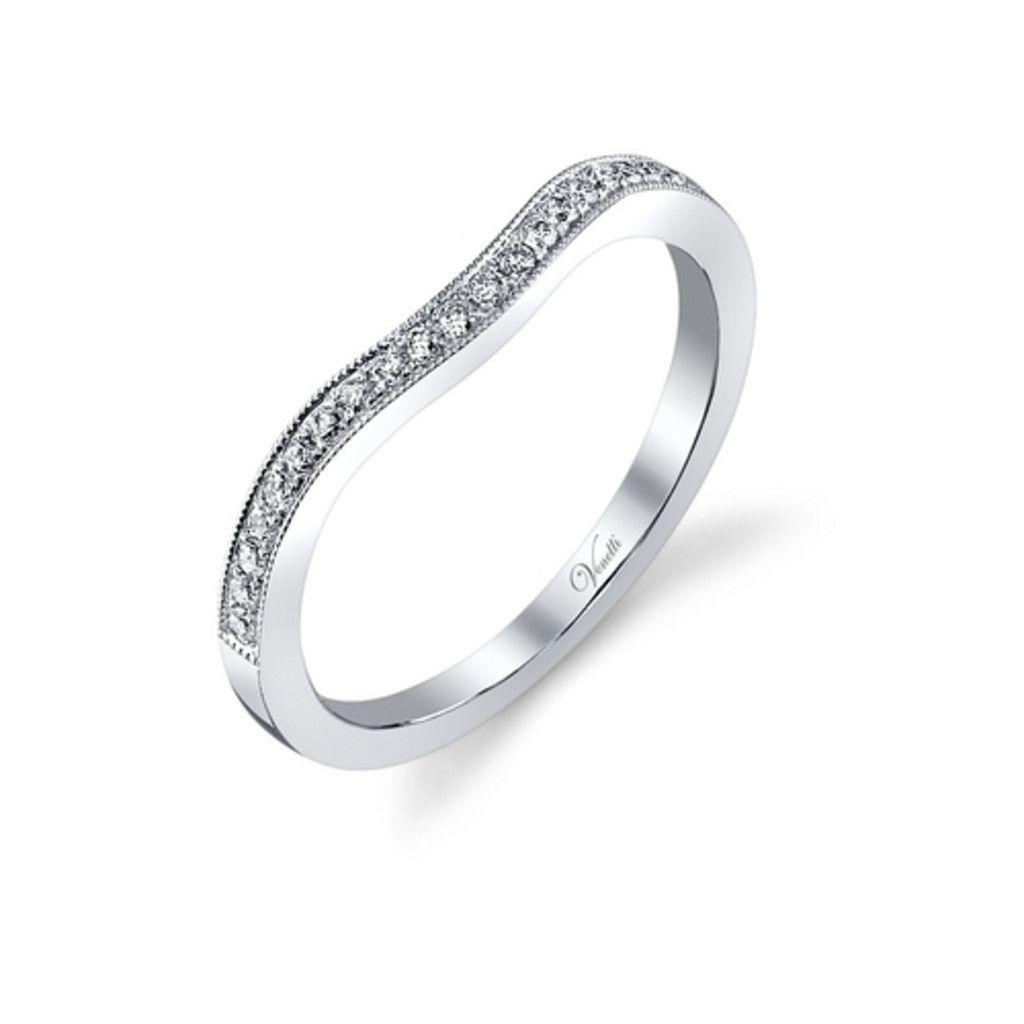 14k white gold curved diamond milgrain band