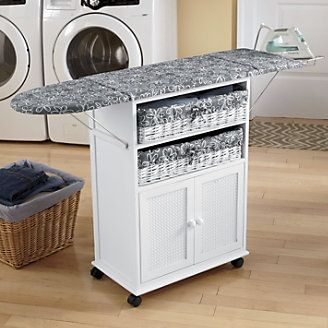 Folding Ironing Board Cabinet 2 Basket Cottage Style