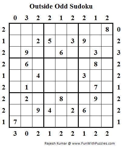 Outside Odd Sudoku (Daily Sudoku League #97)   Sudoku