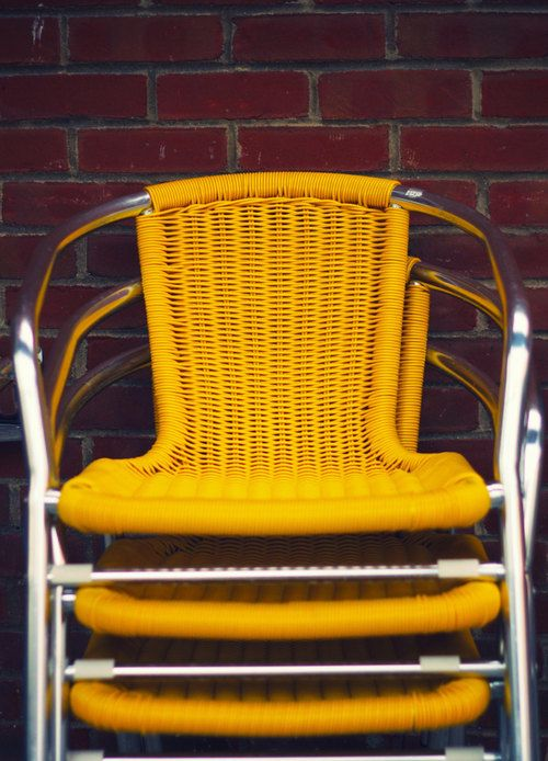 Yellow Chairs, Yellow Wicker And Chrome