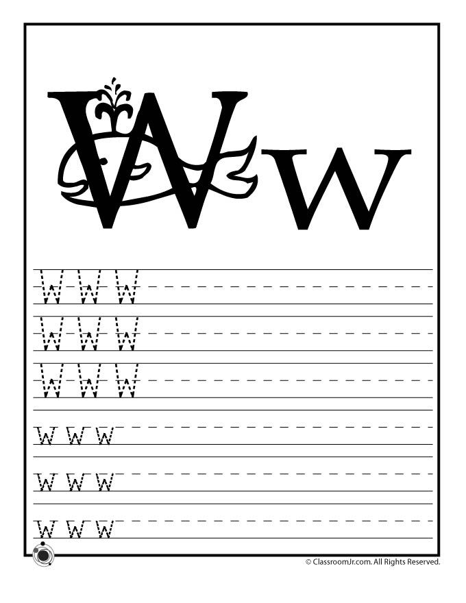 Learning ABC\'s Worksheets Learn Letter W – Classroom Jr. | learning ...