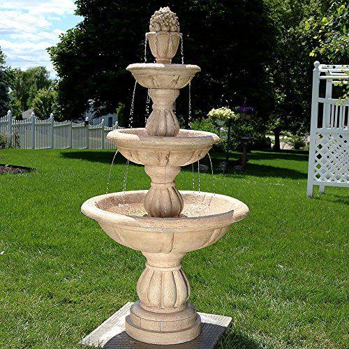 Genial Sunnydaze 3Tier Cornucopia Outdoor Water Fountain 61 Inch Tall *** Want  Additional Info?