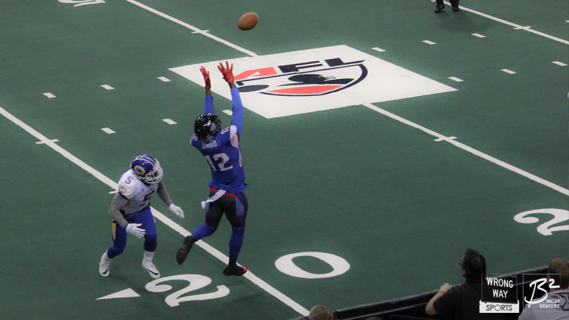 Jamar Howard reaches up to haul in a pass against the Tampa Bay Storm.