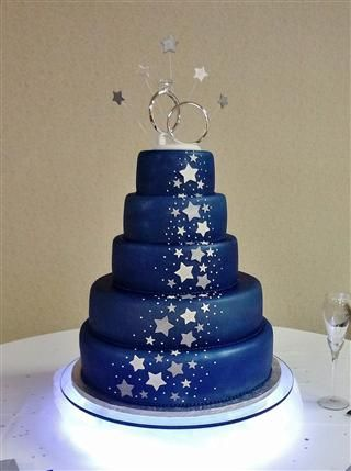starry night cake...maybe we are taking the moon and stars theme too ...