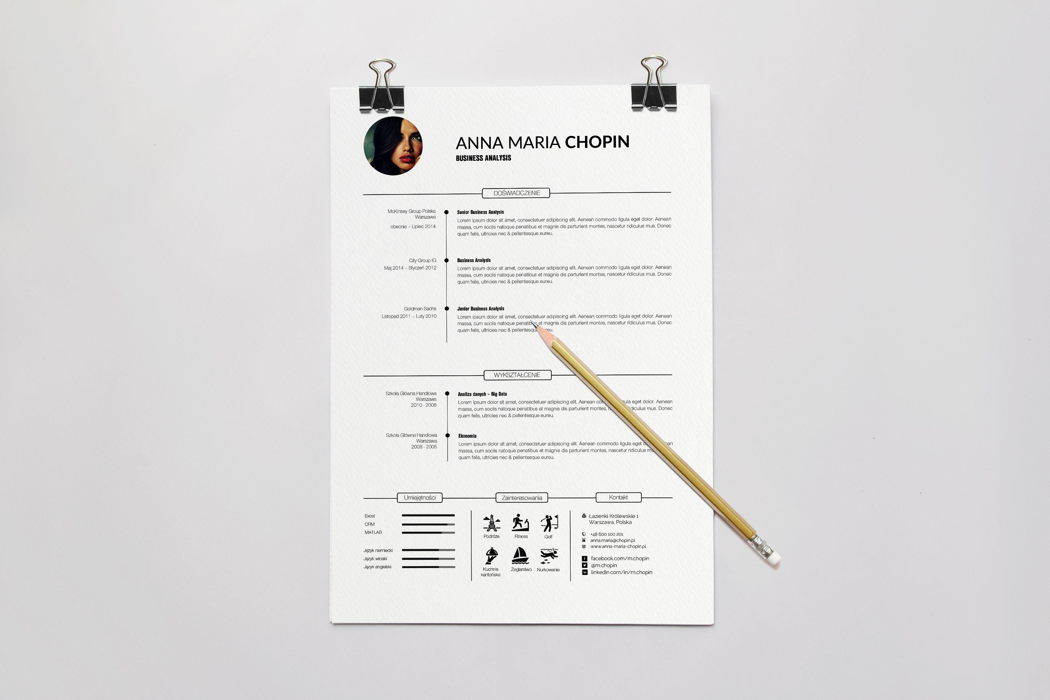 Profesjonalne CV Oraz List Motywacyjny Zaprojektowane Przez