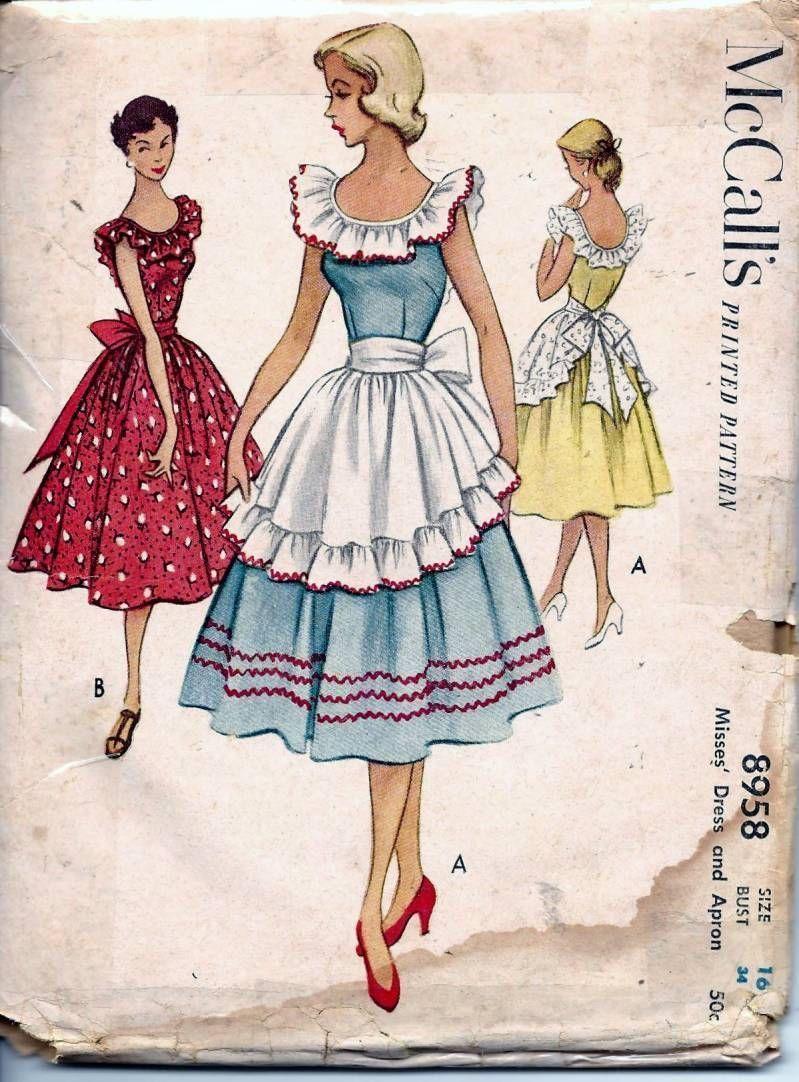 Vintage 50s Dress & Apron Sewing Pattern McCall\'s 8958 | DIY und ...