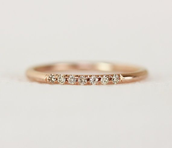 Ring 14k Rose Gold Champagne Diamond Wedding