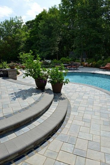 Pool Deck By Unilock With Richcliff Paver And Steps Pool Pavers Concrete Patio Designs Pool Patio Pavers