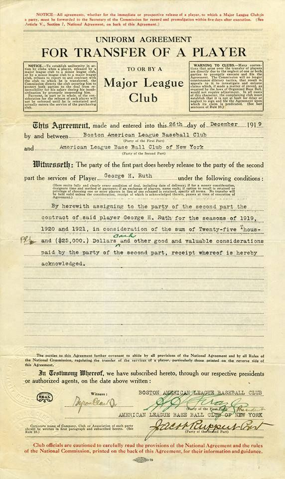 Babe RuthS Transfer Agreement  Baseball    Baseball