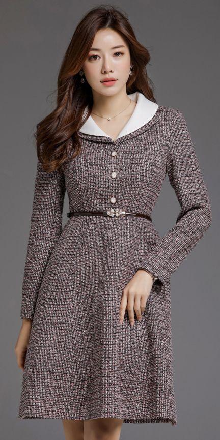 Pearl Belt Set Collared Dress