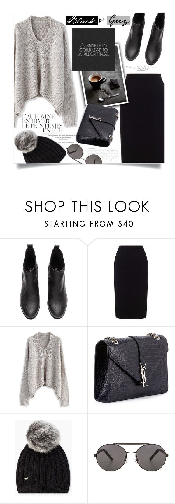 """""""A Simple Hello Could Lead To A Million Things - Black & Grey Contest Entry"""" by yoo-q ❤ liked on Polyvore featuring Roland Mouret, Chicwish, Été Swim, Yves Saint Laurent, UGG, Seafolly, StreetStyle, contestentry, BlackAndGrey and fallsweater"""