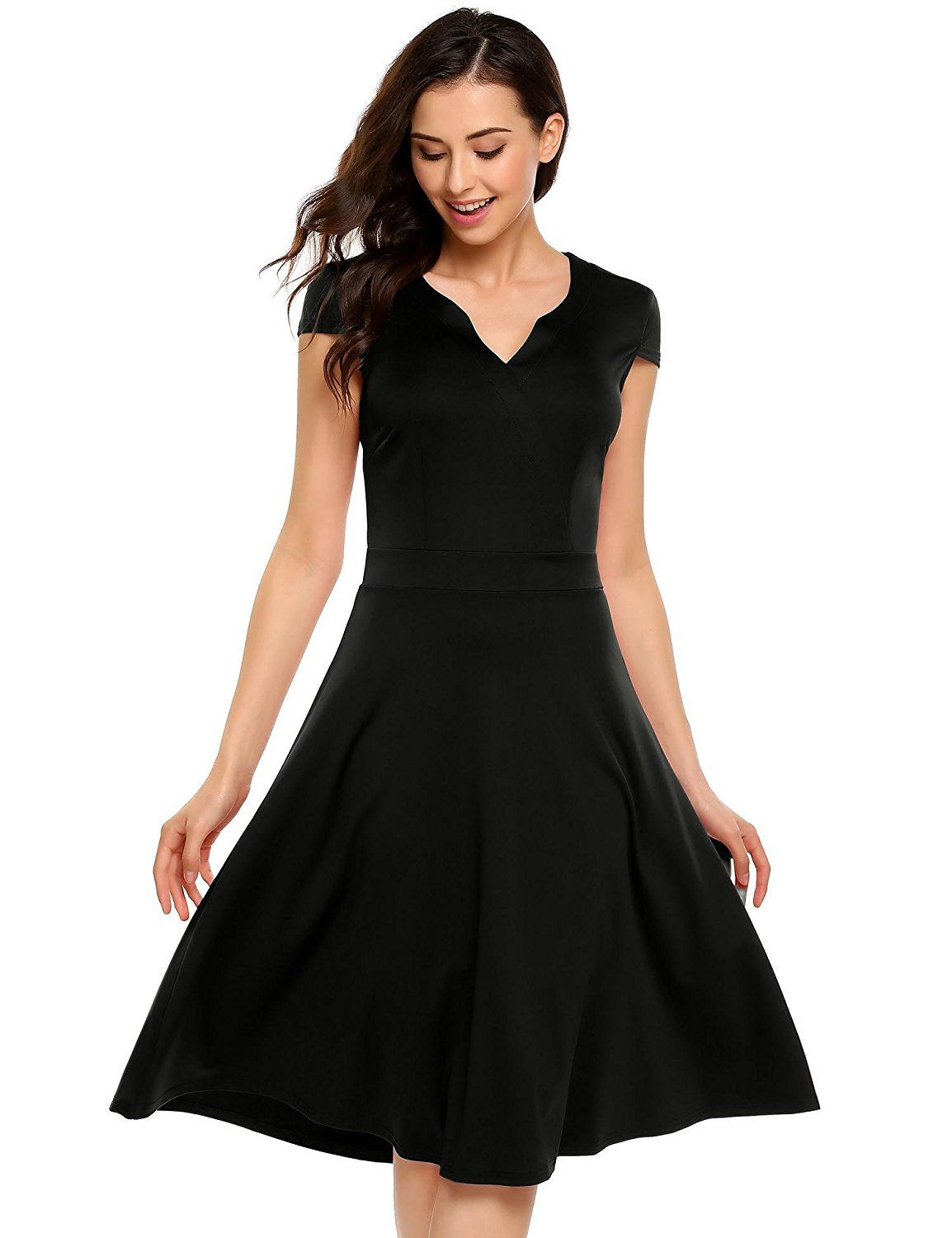 ANGVNS Women\'s Cap Sleeve Solid Color Swing Dresses, Knee Length ...