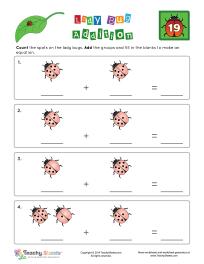 Lady Bug Addition 19 1st Grade Math Worksheets Addition Worksheets Basic Addition