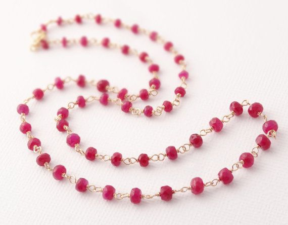 Gold Ruby Necklace . Gold filled Rosary Jewelry . by bluebirdss, $92.00