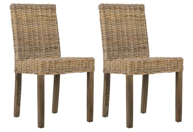 Charmant Jute Ogilby Side Chairs, Pair