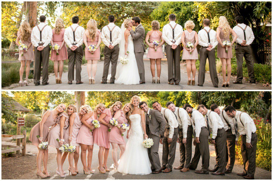 California courtyard wedding brown groomsmen blush pink for Brown dresses for a wedding