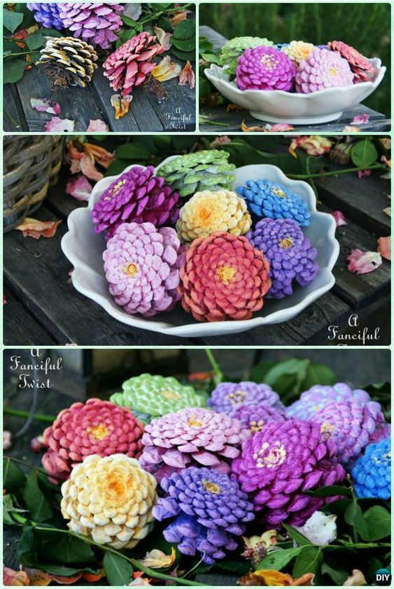 DIY Kids Pine Cone Craft Ideas Projects [Picture Instructions] #pineconeflowers