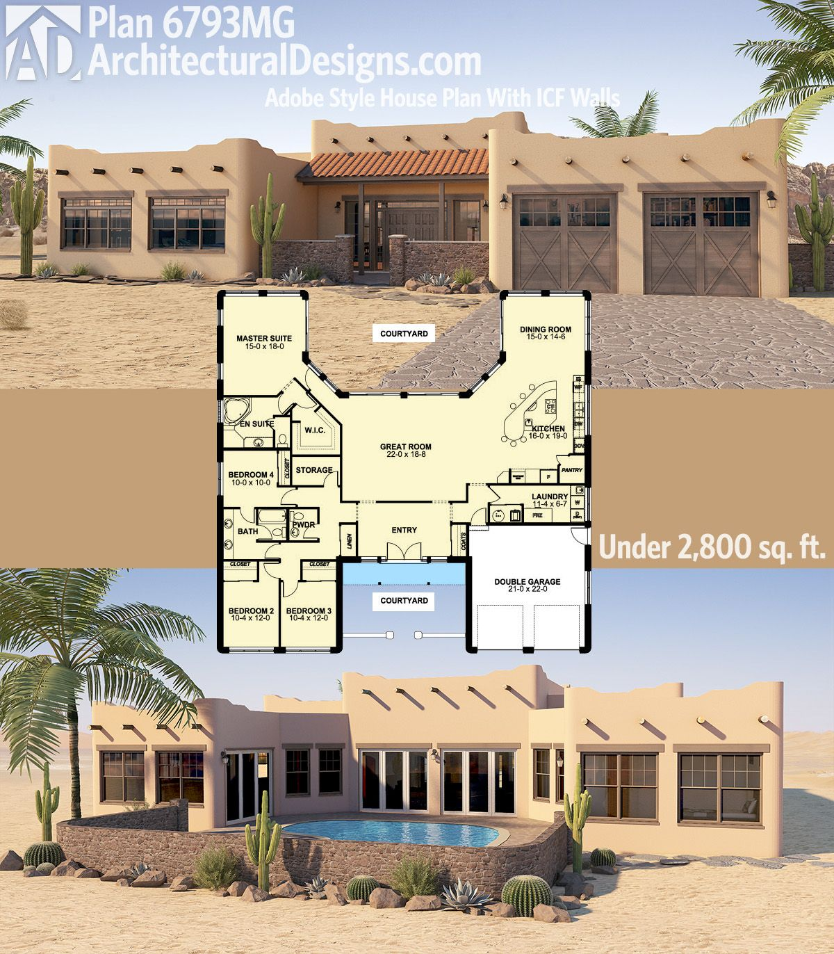 plan 6793mg adobe style house plan with icf walls - Adobe Style House Designs