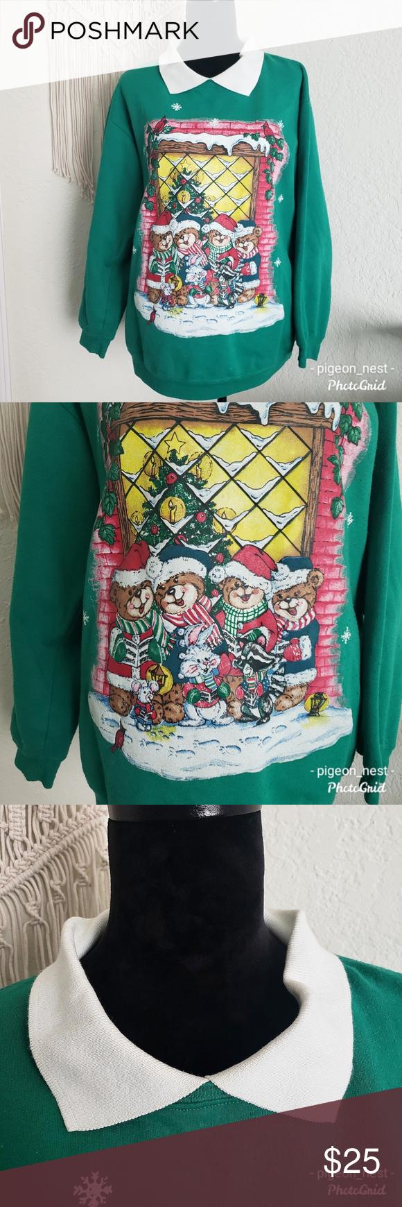 Holiday Caroling Animal Sweater Vintage 1X Vintage