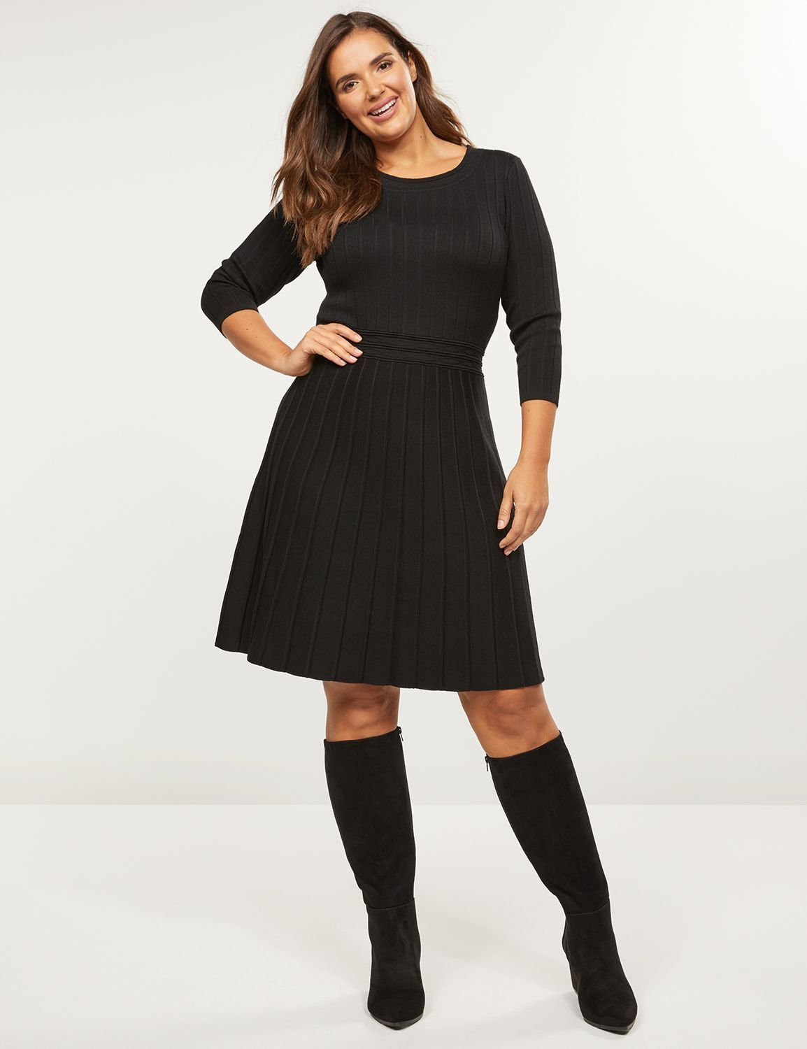 Pleated Fit & Flare Sweater Dress #cocktaildress