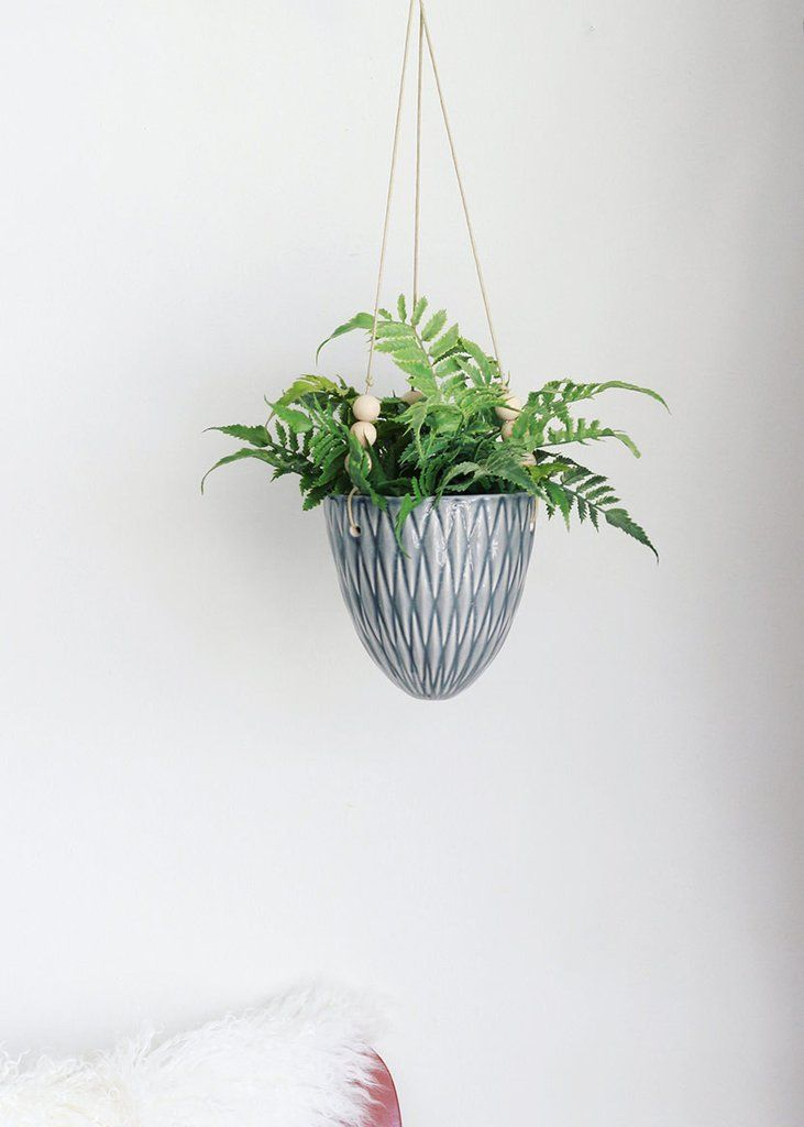 "Hanging Ceramic Floral Planter in Blue Grey5.5"" x 7"""