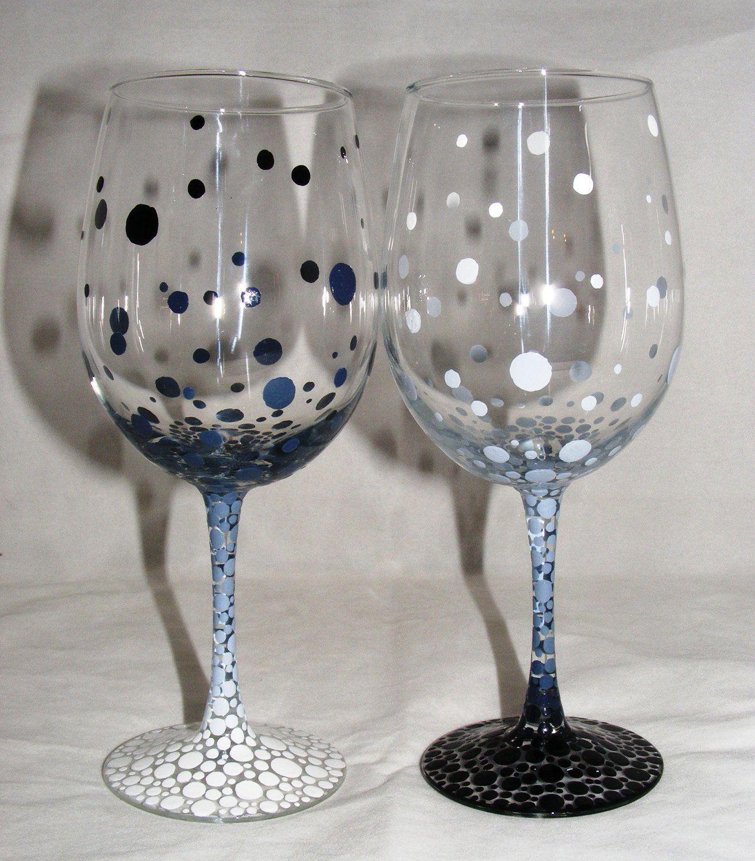 One Pair Hand Painted Wine Gles