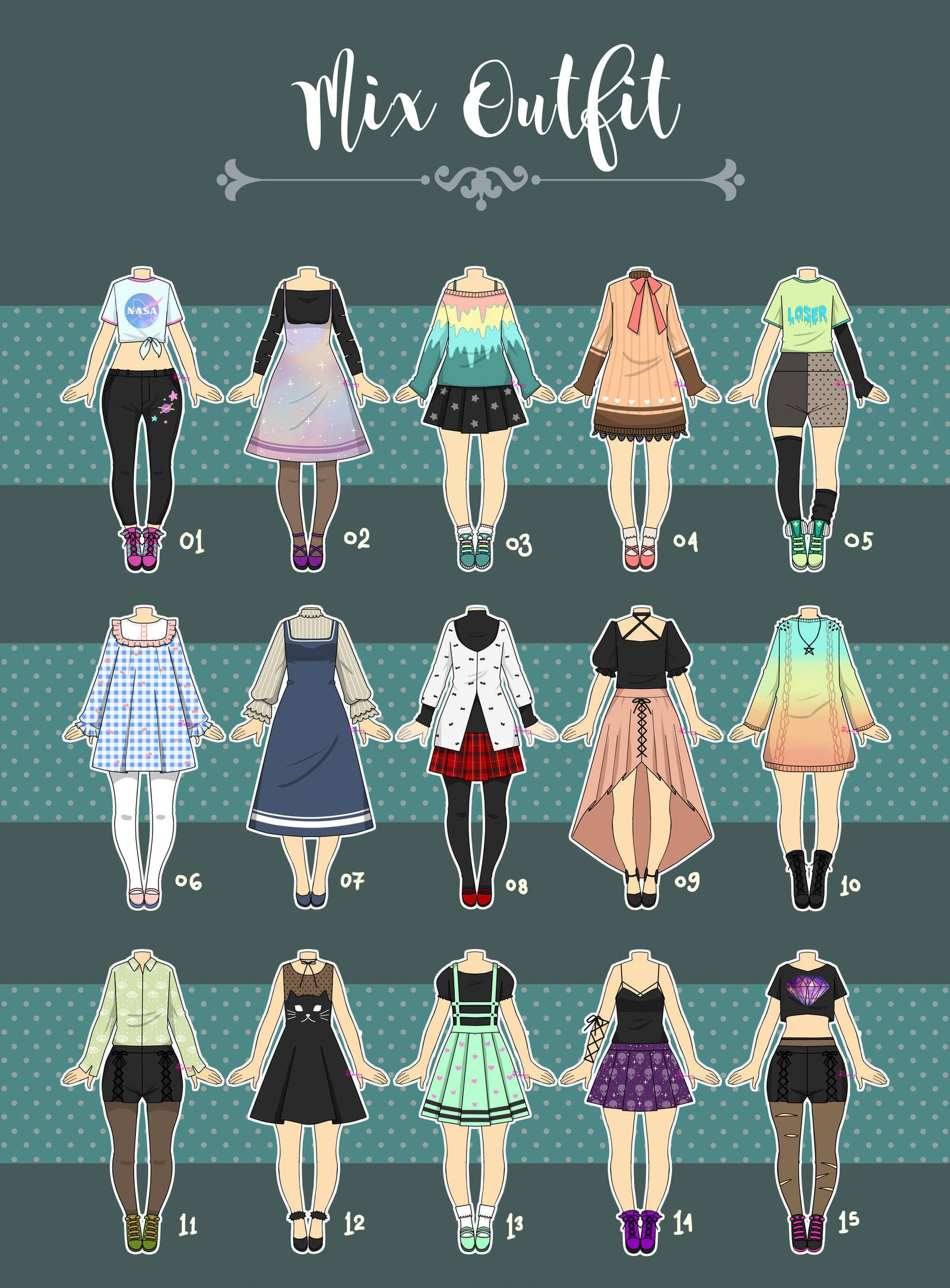 (CLOSED) Casual Outfit Adopts 07 by Rosariy Drawing