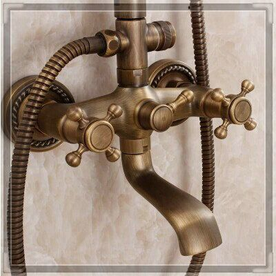 Superb 2015 Bronze Finishing Shower Faucet Antique Bathroom Faucet Luxury Shower  Set Multifunctional Shower Set Hot And