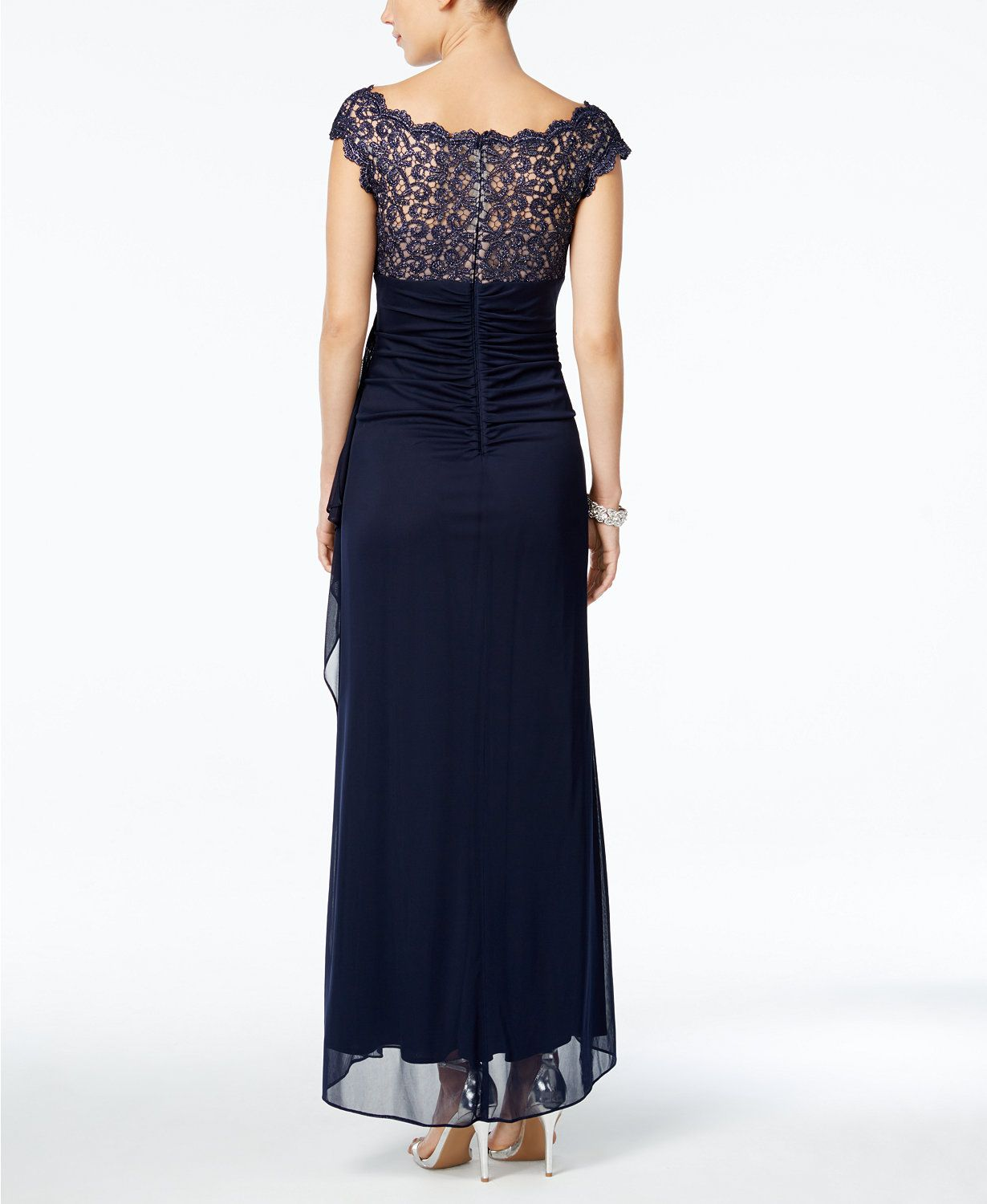 Xscape petite lace illusion fauxwrap gown macys wedding