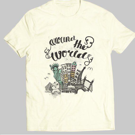 dd41f3eb Around The World - Painting Ideas - Wanderlust Tshirt - Custom Shirt -  Unisex T-Shirt - Handmade Tsh