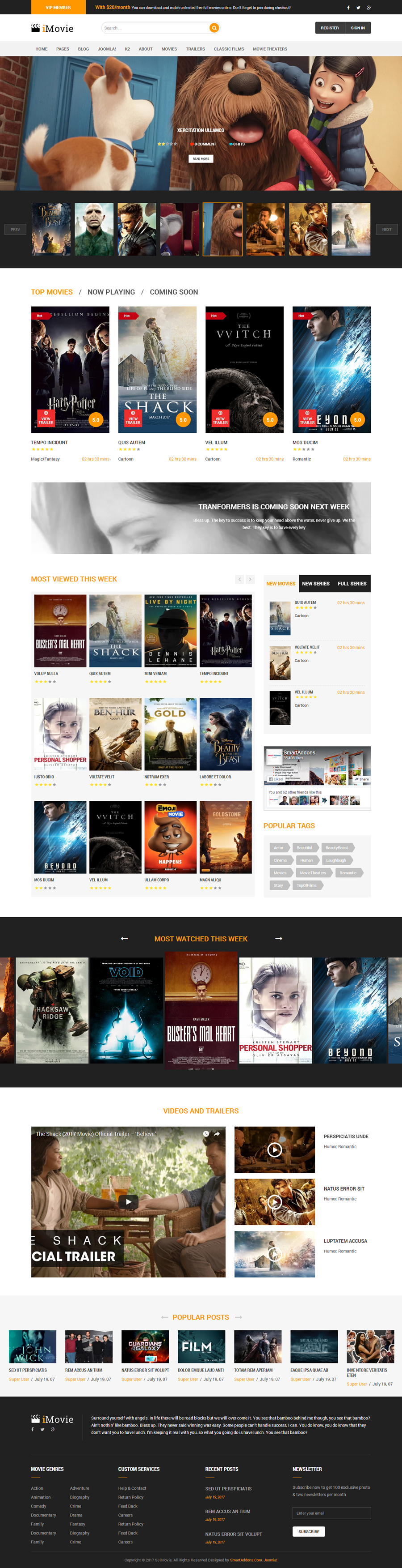 Multipurpose Movie News Joomla 37 Template Sj Imovie