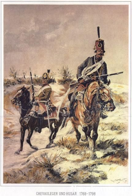 Austrian light cavalry and Hussar , by R.V. Ottenfeld.