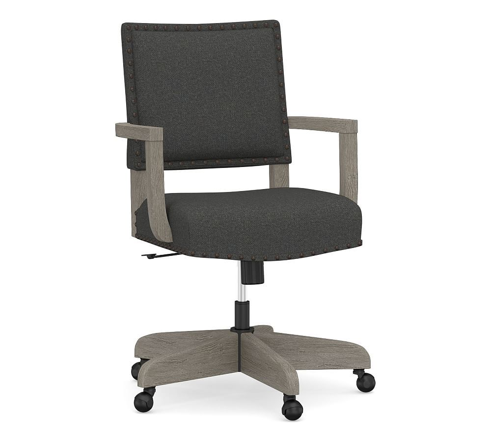Manchester Upholstered Swivel Desk Chair Espresso Frame Washed