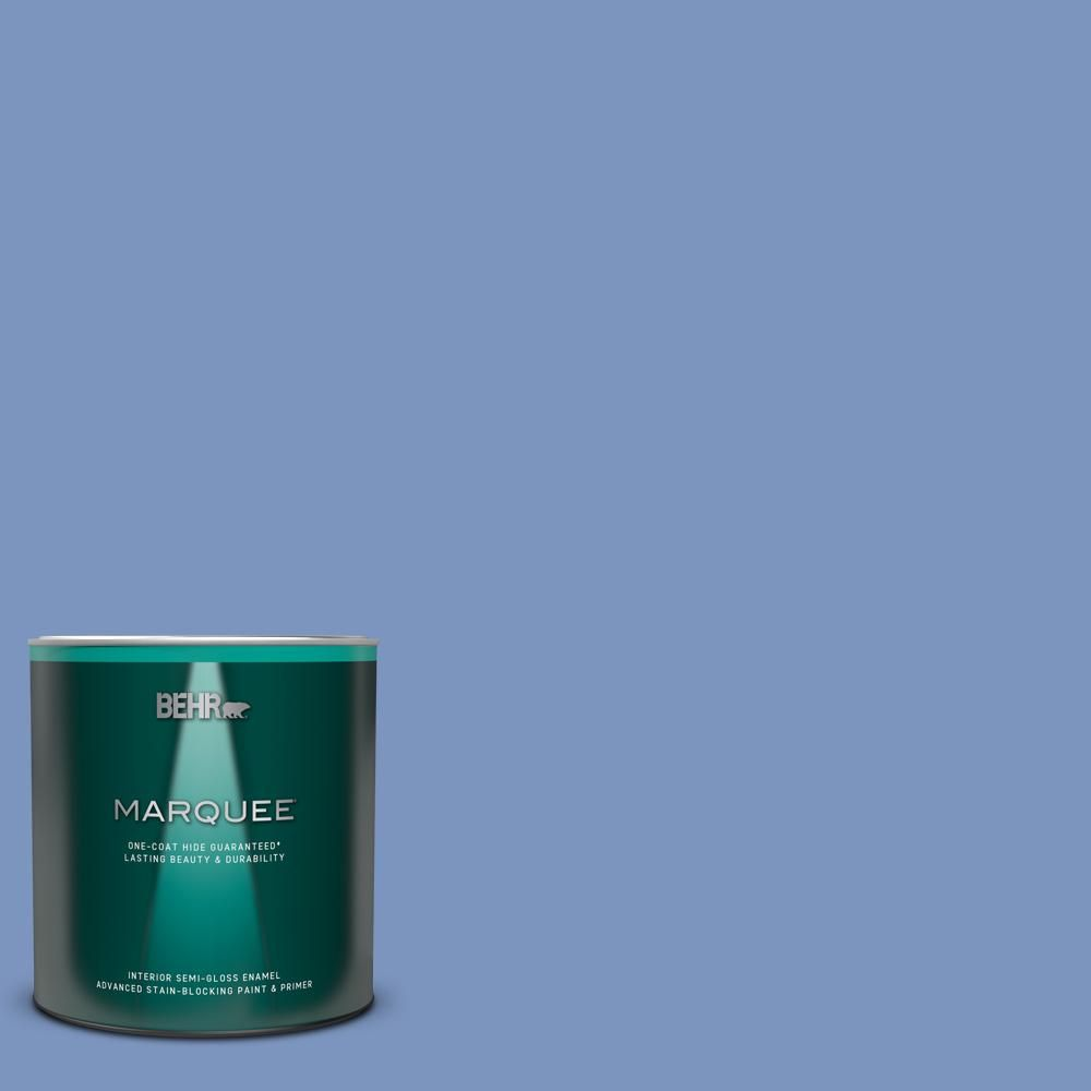 Behr Marquee 1 Qt M540 5 Blue Satin One Coat Hide Semi Gloss Enamel Interior Paint And Primer In One In 2020 Behr Marquee Behr Marquee Paint Interior Paint