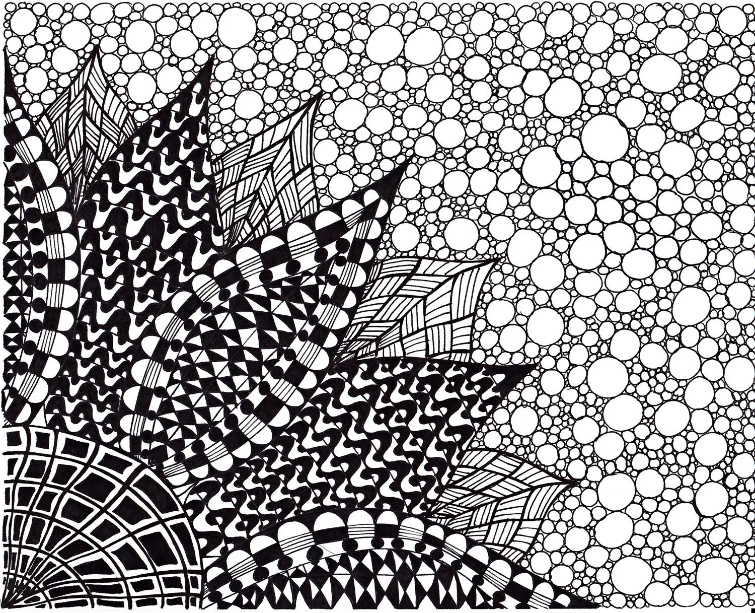 Zentangle Inspired Flower Art Print Ink Drawing Zendoodle Printable Black And White 600 Via Etsy