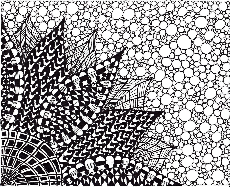 Zentangle Inspired Flower Art Print Ink Drawing Zendoodle Flower